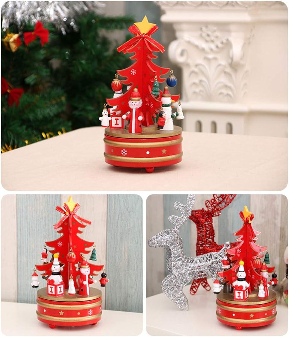 Rouge Ototon Bo/îte /à Musique Tournante en Bois Sapin de No/ël Figurine P/ère No/ël D/écoration Jouet pour Enfants Cadeau F/ête