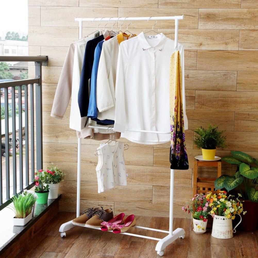 Coat Racks,Floor Standing Multifuctional Hanger, Adjustable Drying Rack, Indoor and Outdoor Single Pole Double Telescopic Floor Drying Rack with wheels-White zhoushuai