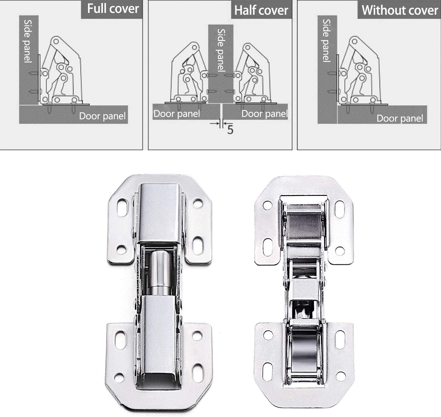 ZILONG 8pcs Kitchen Cabinet Door Hydraulic Hinge Damper Buffer 90 Degrees No Slot Required Soft-Close Stainless Steel Hinge