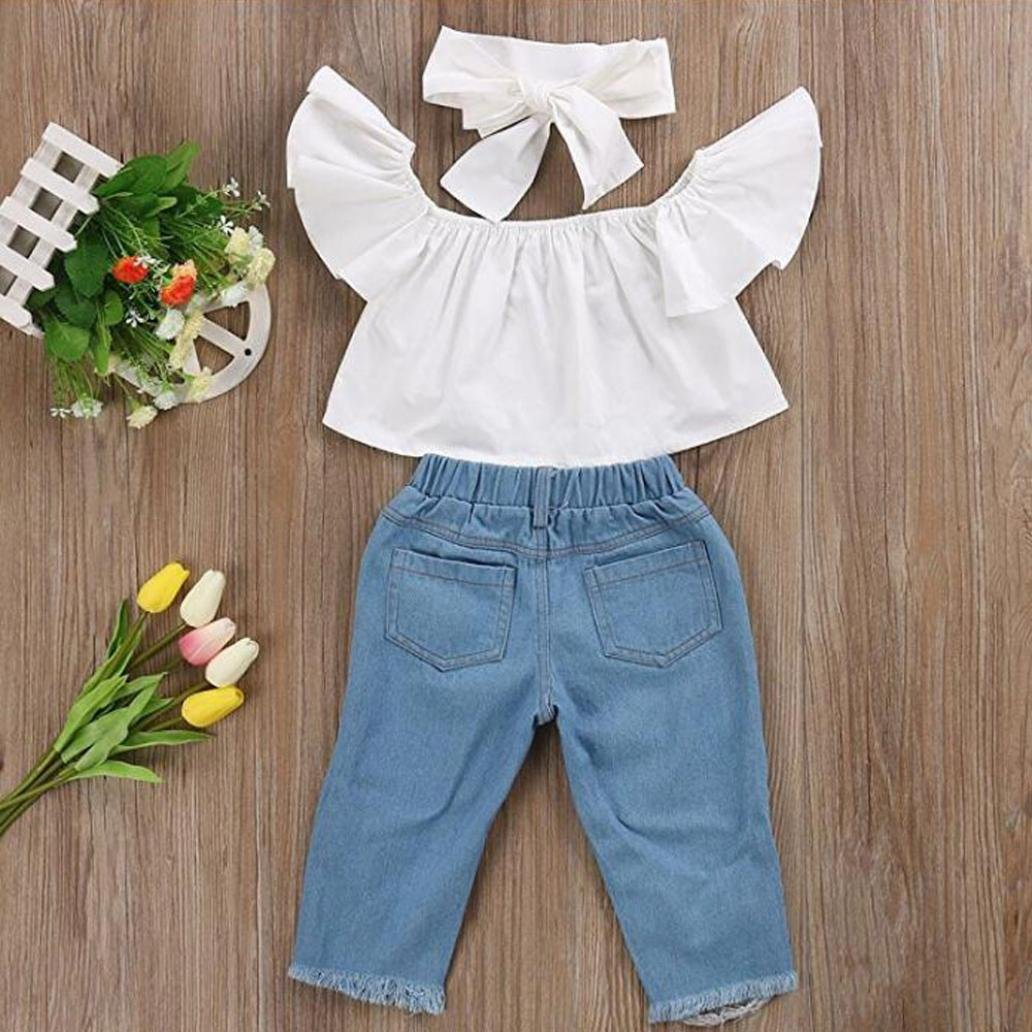 LSAltd 2018 Kleinkind Baby M/ädchen R/üschen Off Schulter Crop Tops Loch Denim Hose Jean Stirnband Outfits Set