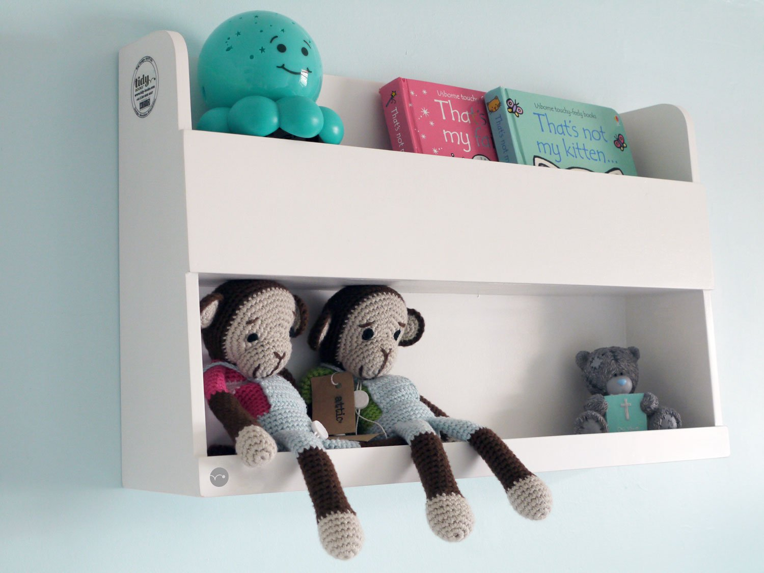 Tidy Books - The Original Bunk Bed Shelves and Bedside Storage for Top Bunk Beds and Cabin Beds -Wood-White-33 x 53 x 12cm