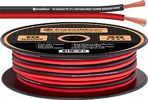 InstallGear 10 Gauge Speaker Wire - 99.9% Oxygen-Free Copper (OFC) - Red/Black (50-feet)
