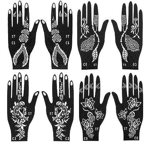 Jurxy 4 Pares Kit de Plantilla de Tatuaje de Mano de Henna ...