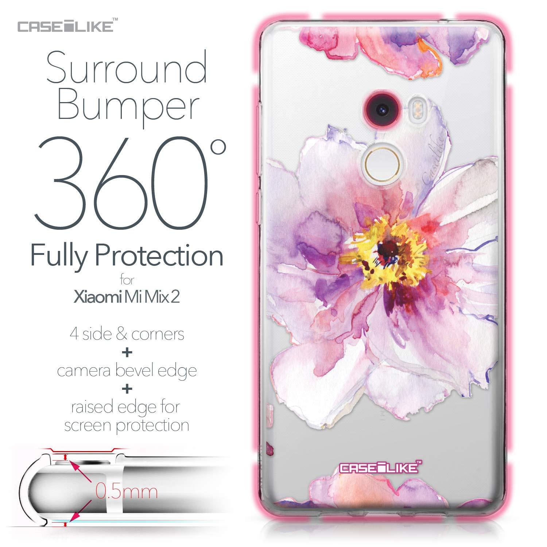 CASEiLIKE® Funda Mi Mix 2, Carcasa Xiaomi Mi Mix 2, Acuarela Floral 2231, TPU Gel Silicone Protectora Cover