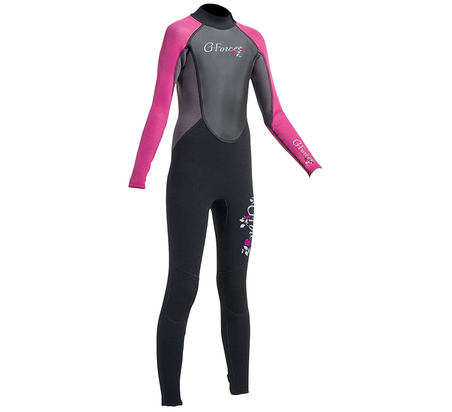 a66bfbda98 Gul G-Force Junior 3mm Flatlock Wetsuit in Black and Pink - Girls -  Flexible Full Suit For All Watersports - Easy Stretch