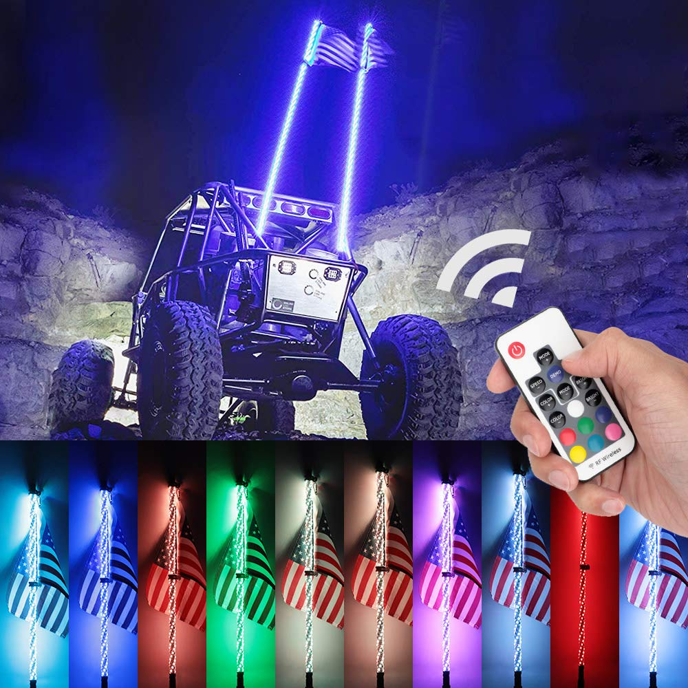 2PCS Novsight 3FT RGB 360/° Spiral LED Whip Lights Road Vehicle ATV Polaris RZR 4 Wheeler Flag 20 Colors Remote Controll Weatherproof Lighted Antenna Whips Lamp Accessories for UTV Off