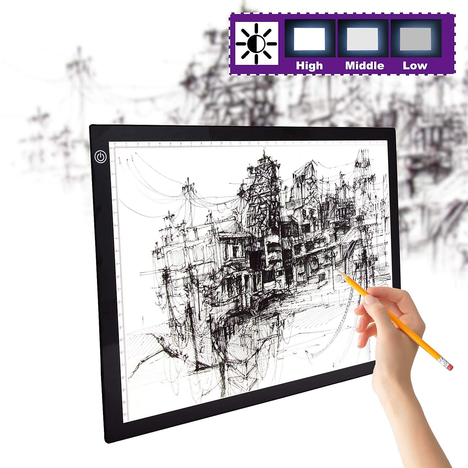 A4/A3 LED Copy Board Light Box,2019 New Improved Frame Structure No Dark Areas,Dimmable Brightness.LED Artcraft Tracing Light Box Light Pad for Artists Drawing Sketching Animation Stencilling X-rayVie by Hokone