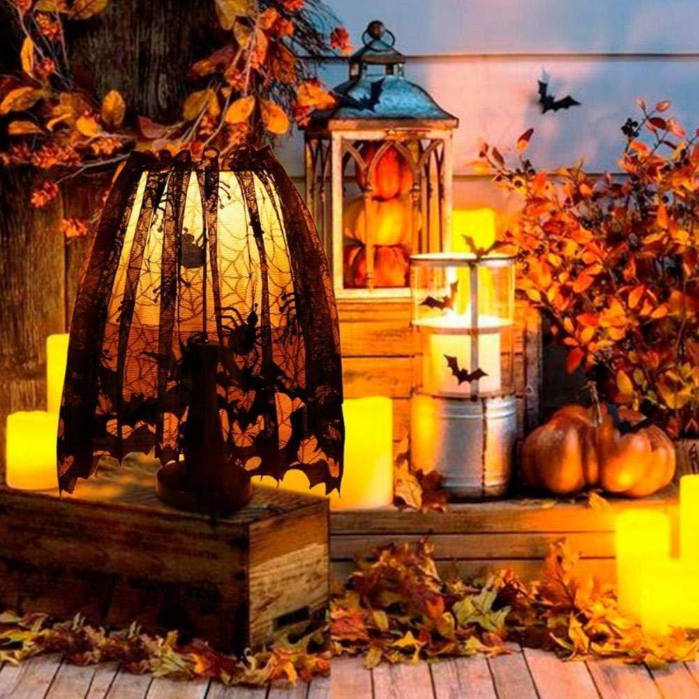 EZIZB Paralume di Halloween Paralume in Pizzo Sciarpa per Caminetto Decorazione per Feste con Nastro Fisso 60x 20 Nero