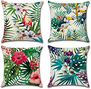 ULOVE LOVE YOURSELF Home Decorative Throw Pillow Covers Flamingo Pattern&Tropical Flower Leaves Cotton Linen Cushion Covers 18 X 18 Inch,4 Pack (Flamingo-1)