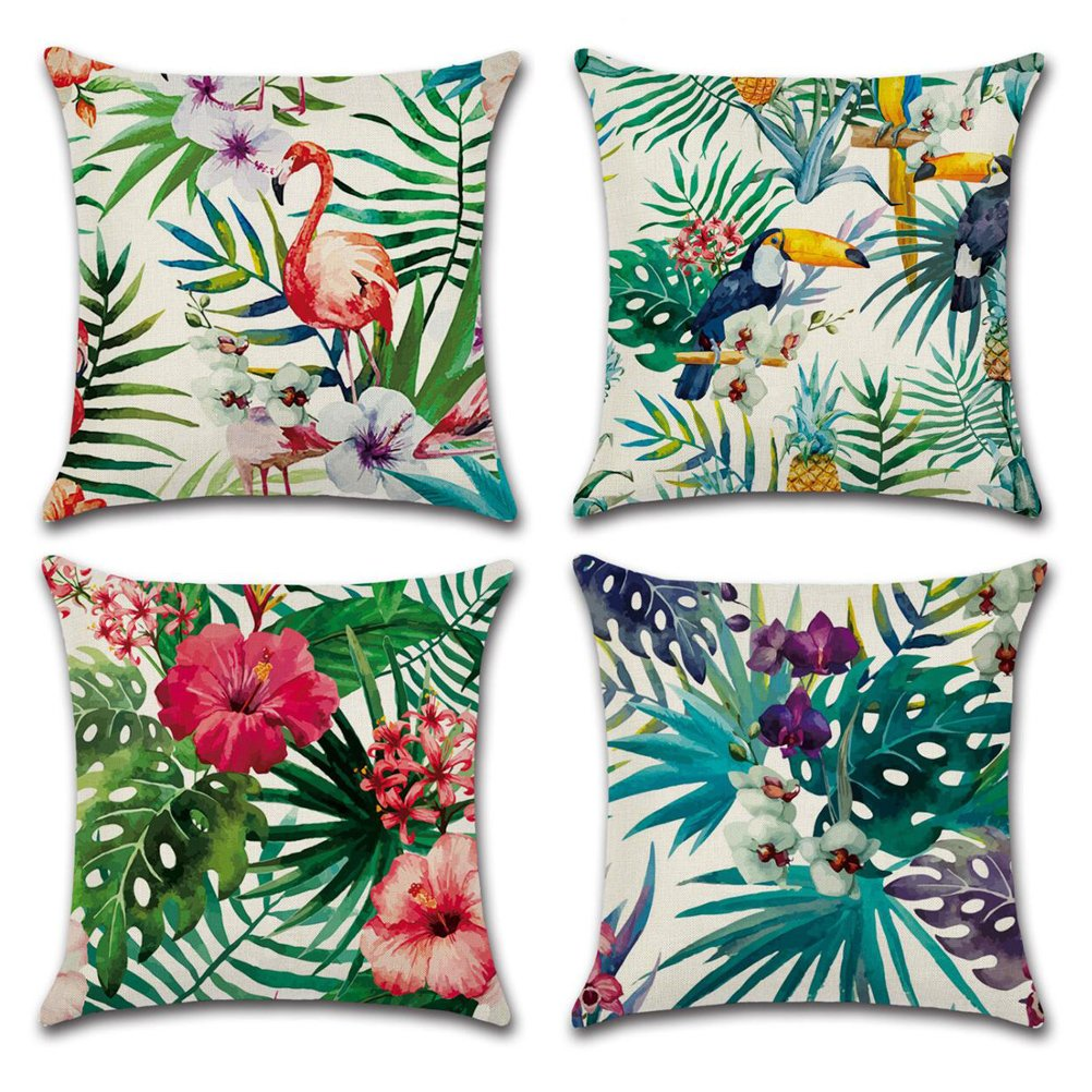 Home Decorative Throw Pillow Covers U-LOVE Flamingo Pattern&Tropical Flower Leaves Cotton Linen Cushion Covers 18 X 18 Inch ,4 pack (Flamingo-1)