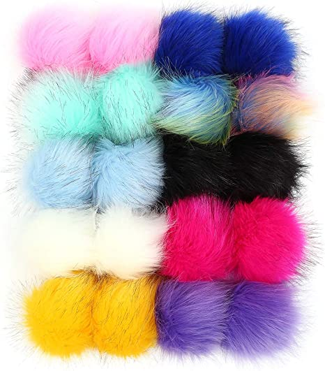 10 Pcs Faux Fur Ball Pom Poms Keychains for Handbag Purse Fluffy Ball