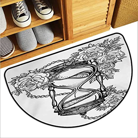 4b7c936f4 warmfamily Tattoo Bathroom Suction Door mat Pencil Drawing Romantic Theme  Hourglass Symbol of Eternal Love with