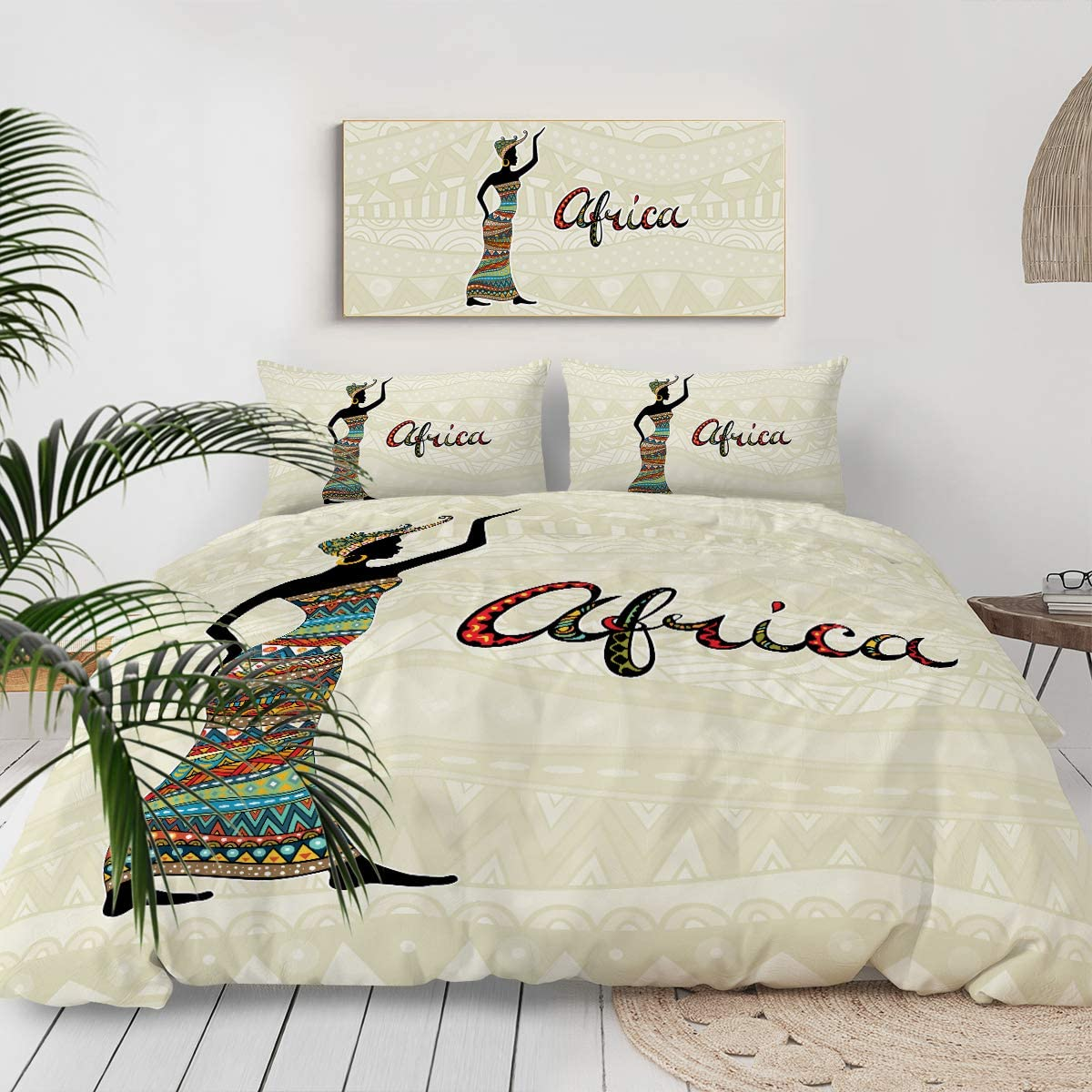 Sleepwish South Africa Bedding Colorful Tribal Ethnic African Women Print Duvet Cover and Pillowcases 3 Piece East Urban Home Comforter Cover Sets (Queen)