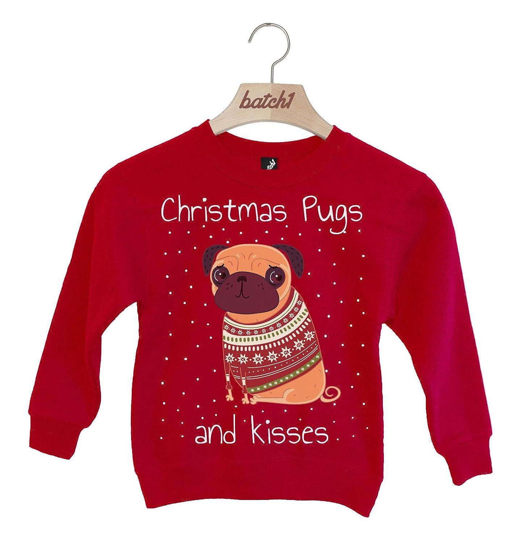 Batch1 Christmas Pugs and Kisses Novelty Fashion Xmas Kids Festive Sweatshirt