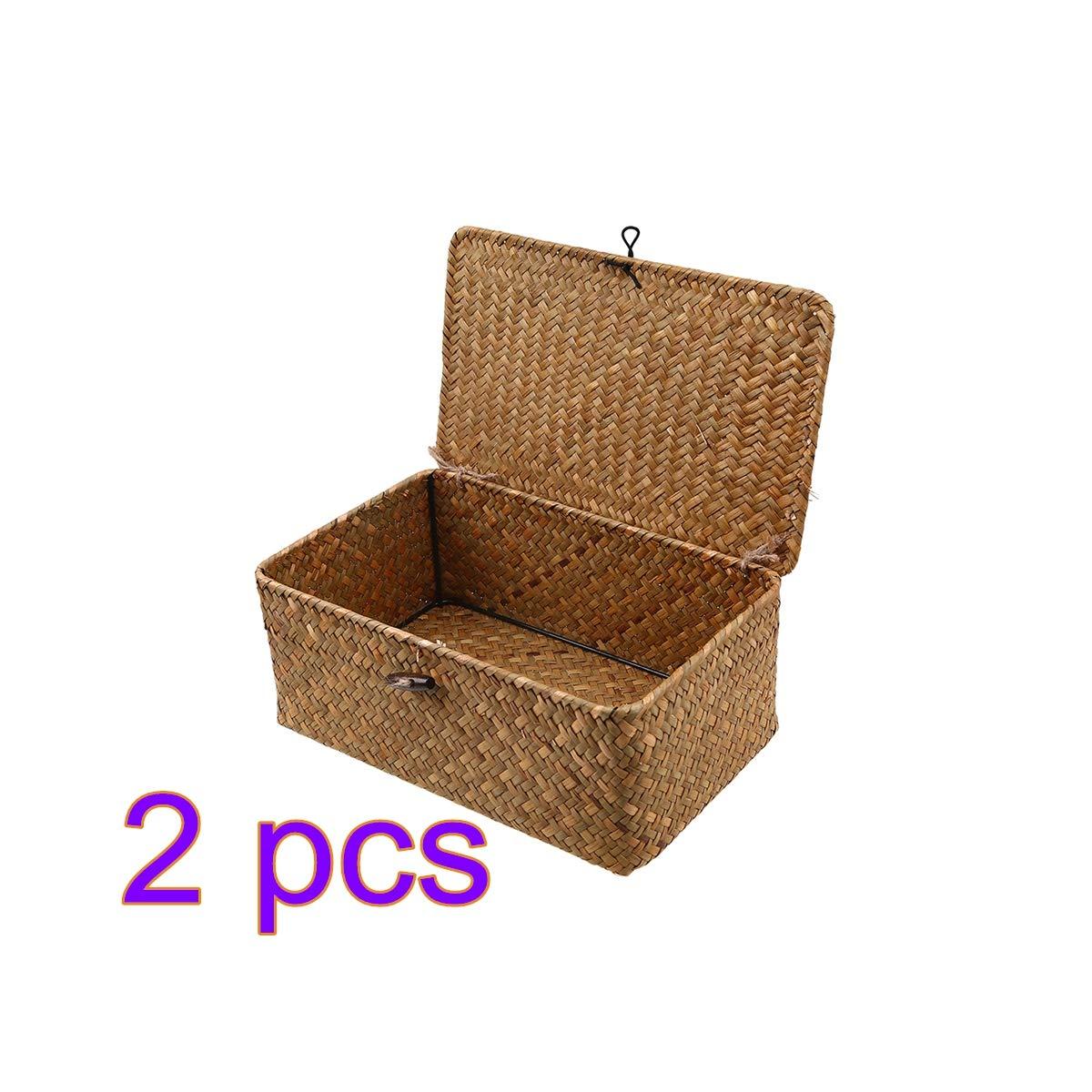 Vosarea Rattan Storage Basket Makeup Organizer Multipurpose Container with Lid Size S 2pcs