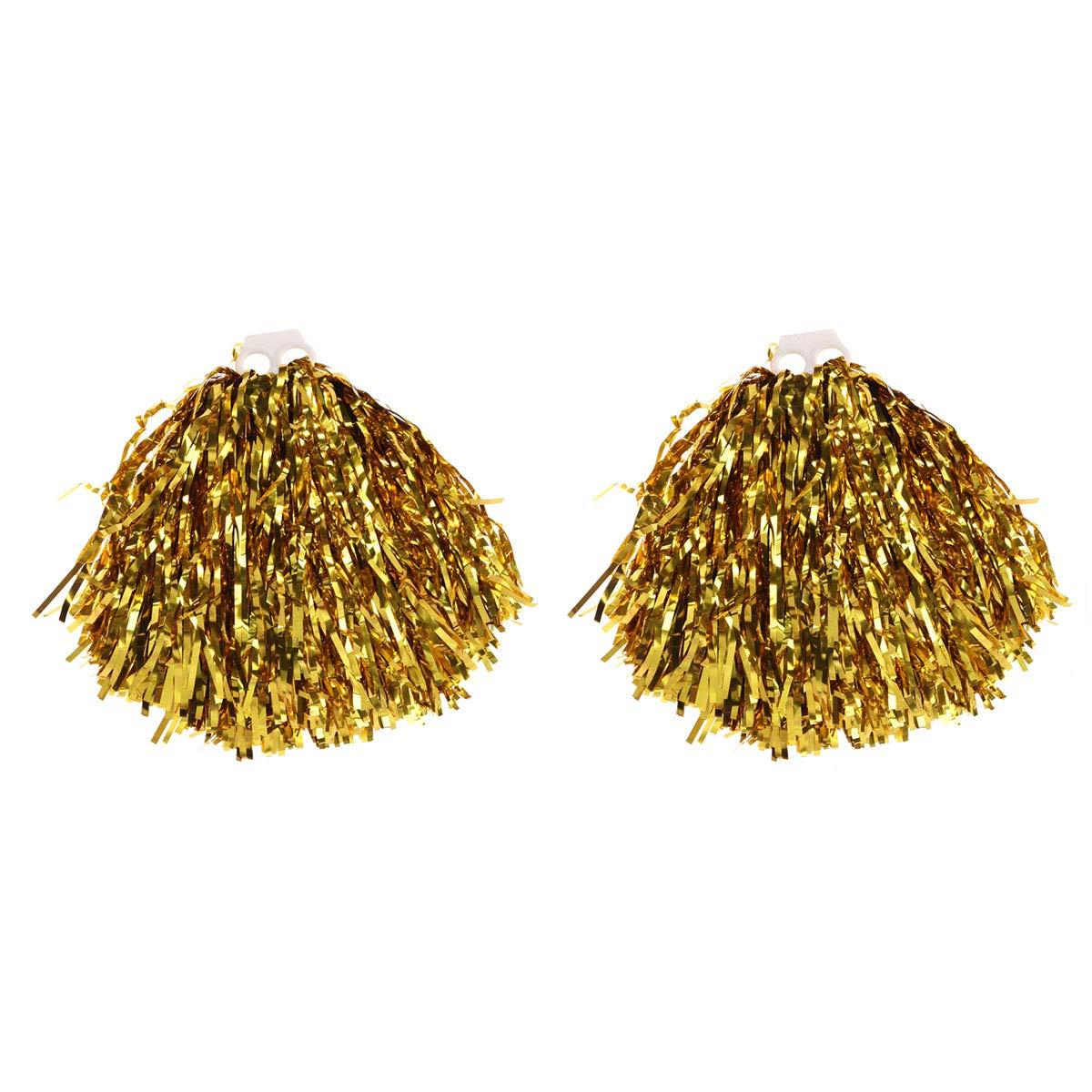 VORCOOL 1 Paar Cheerleader Pompons Metallic Tanzwedel Sport Pompoms Puschel Party Cheer Zubehör (Gold)