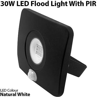 * Premium * fin Blanc naturel 30W LED Projecteur extérieur avec détecteur de détecteur de mouvement/PIR–Prises de sécurité à fixation murale IP65é