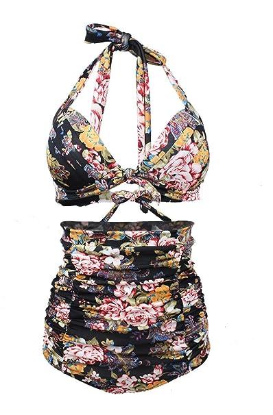 f42ce915d0 Womens Chic Retro Floral Print Halter High Waist Swimsuit Bathing Suit  Bikini Set