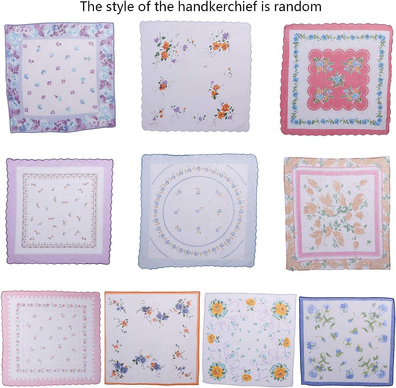 10 pezzi Olgaa Fazzoletti da donna con stampa floreale vintage in cotone
