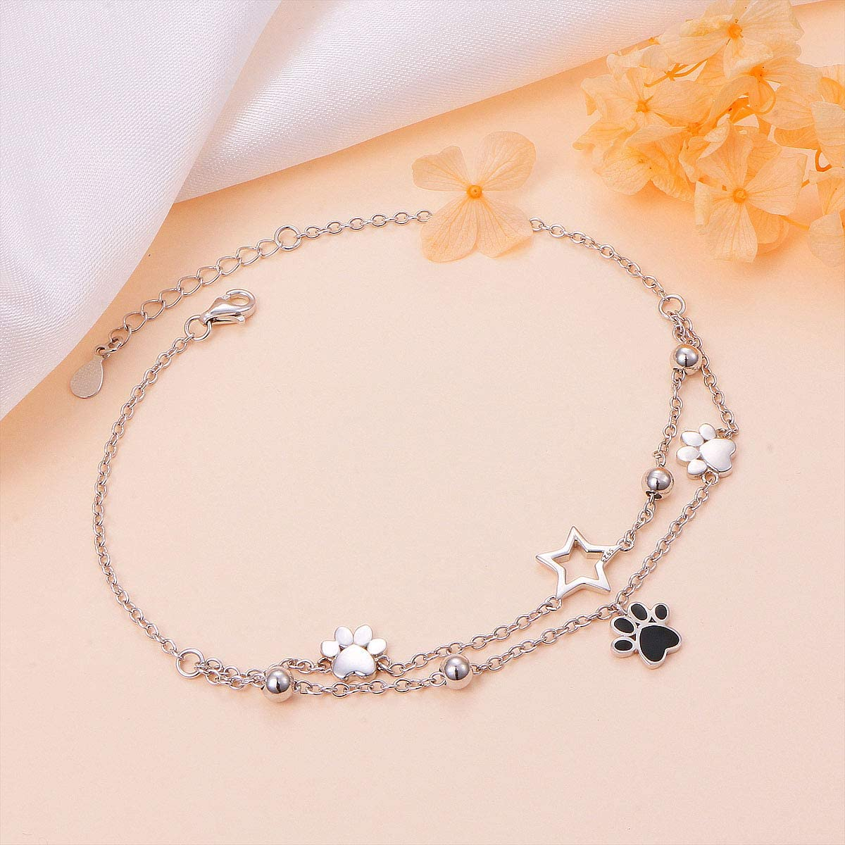 S925 Sterling Silver Foot Charm Jewelry Adjustable Anklet Large Link Bracelet Gift for Women Girls Valentines Day 9+1 inches