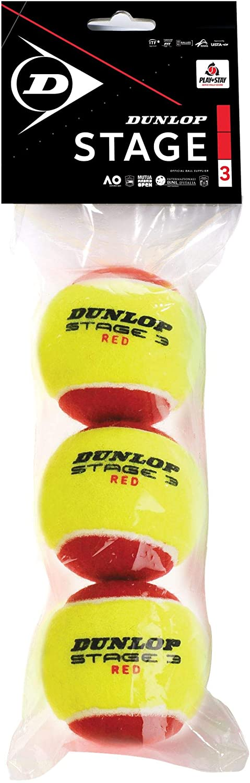 Dunlop 601340 Pelota de Tenis, Stage 3 Rojo - Blister de 3 Pelotas