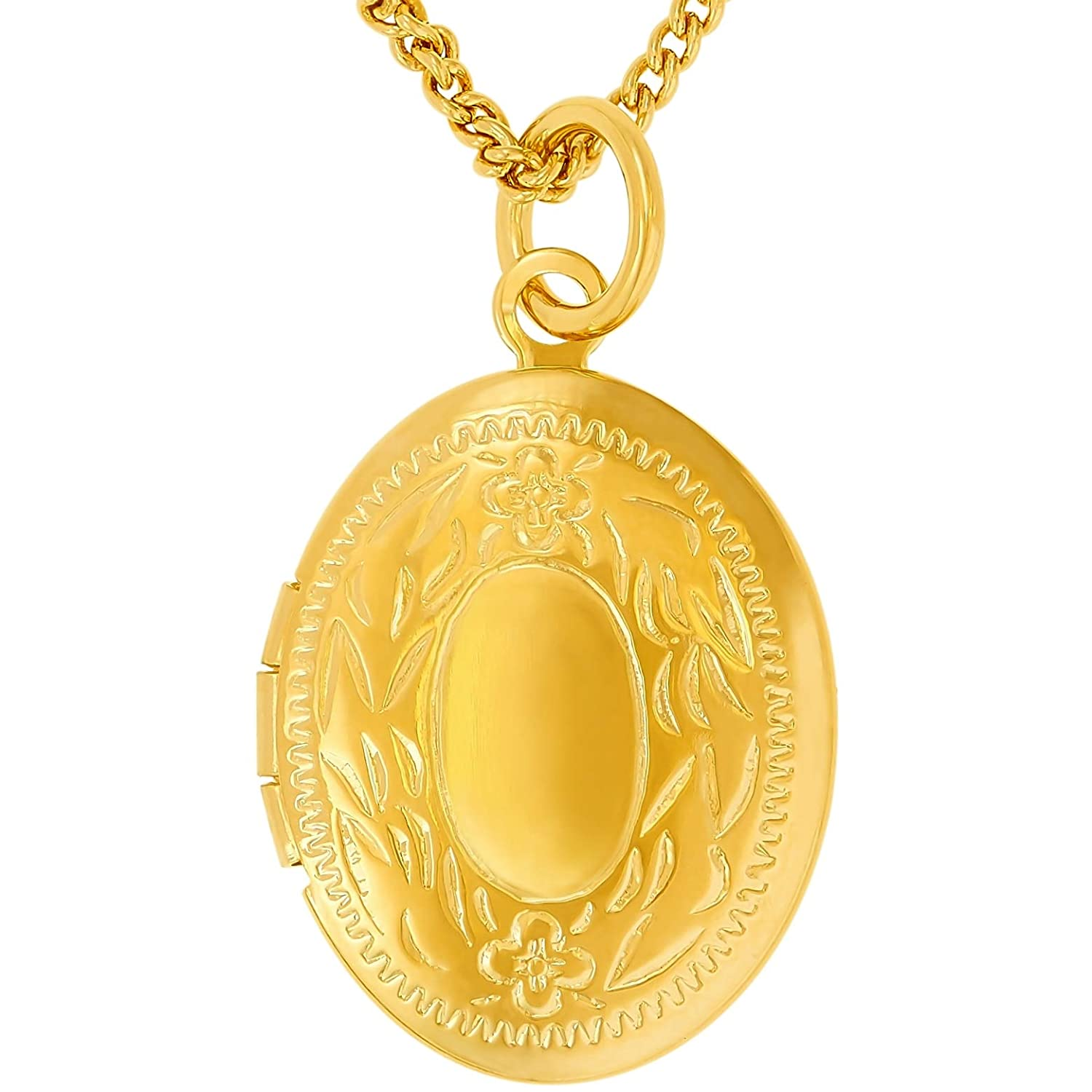 Free Lifetime Replacement Guarantee Up to 20X More 24k Plating Than Other Photo Lockets Oval Gold Locket Lifetime Jewelry Locket Necklace That Holds Pictures Jewelry for Girls and Women