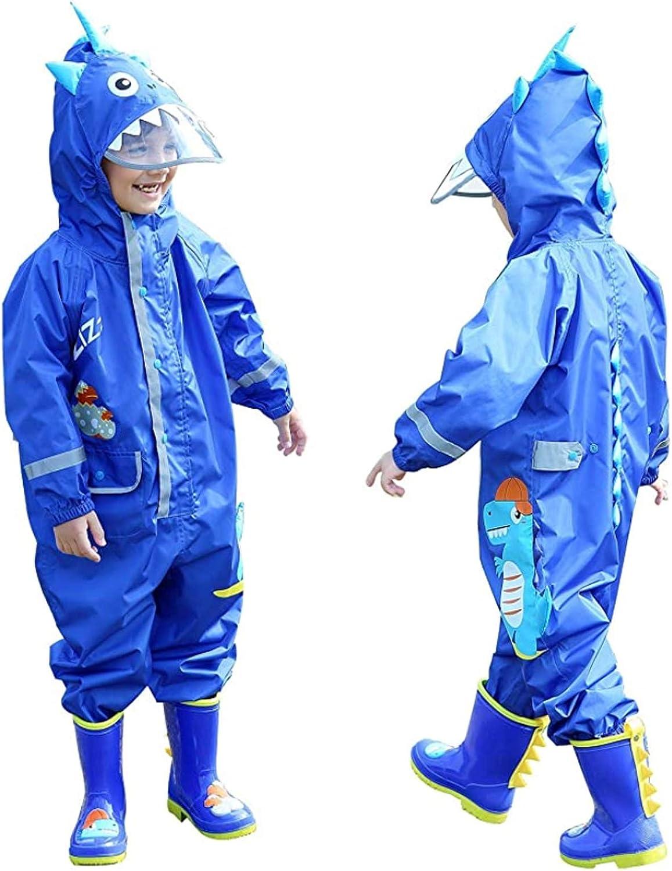 12-18 Months Waterproof Windproof Lightweight Kids Rain Suit Coat All in One Dry Suit Puddle Unisex Drip Drop Raincoat Zorax Boys Girls Black