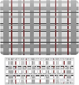 MacBook Air 13 Inch Case A1466, A1369 Hard Shell Cover for 13 Inch MacBook Air 13 Case & Keyboard Cover, Gray Burgundy Black White Grid Pattern Laptop Protective Shell Set