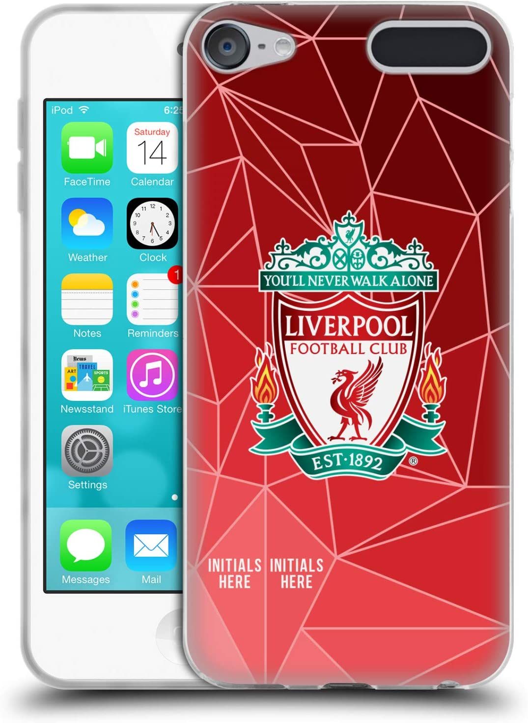 Custom Customised Personalised Liverpool Football Club Geometric Personalised Patterns Soft Gel Case Compatible for Apple Touch 6th Gen//Touch 7th Gen