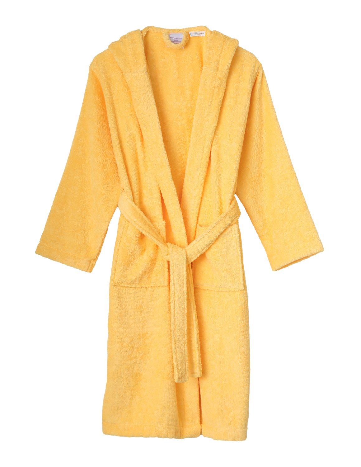 TowelSelections Big Boys' Robe, Kids Hooded Cotton Terry Bathrobe Cover-up Size 12 Banana Cream