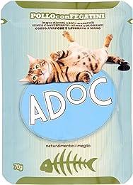 Adoc Naturale Pollo e Fegatini per gatti adulti, confezione da 20 pezzi