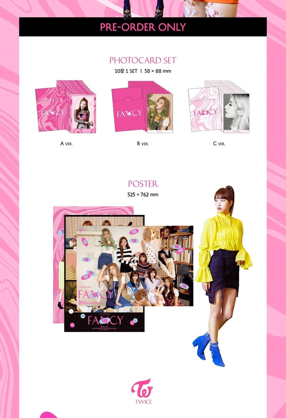 K-POP Twice - 7th Mini Album [Fancy You] (B version) CD + Sticker + Photocards + Photobook + Pre-Order Benefit + Folded Poster + Extra Photocards Set + Tracking Number KPOP Sealed by JYP Ent
