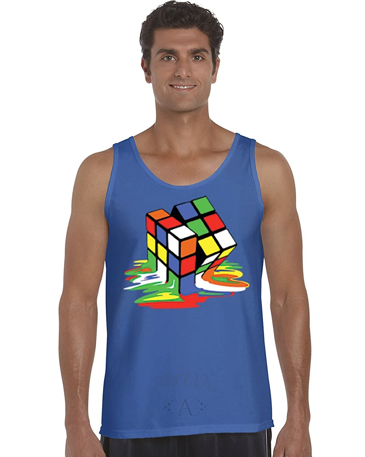 Melting Rubik`s Cube Men Tank Top Large Royal Blue Artix A
