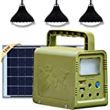 ECO-WORTHY Portable Solar Generator 84Wh Solar Light System with 4V 18W Solar Panel, Camping Lights,USB DC Outlets for…
