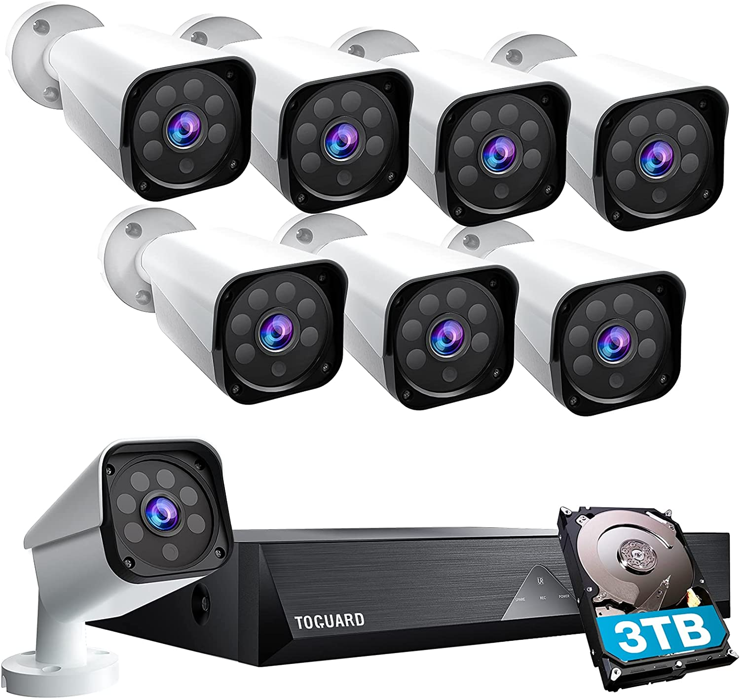 8CH 1080P Security Camera System with 3TB Hard Drive Home Outdoor Lite Wired DVR Security Surveillance Cameras IP66 Weatherproof CCTV Camera, 100ft Night Vision,Motion Email Alert, Remote Access