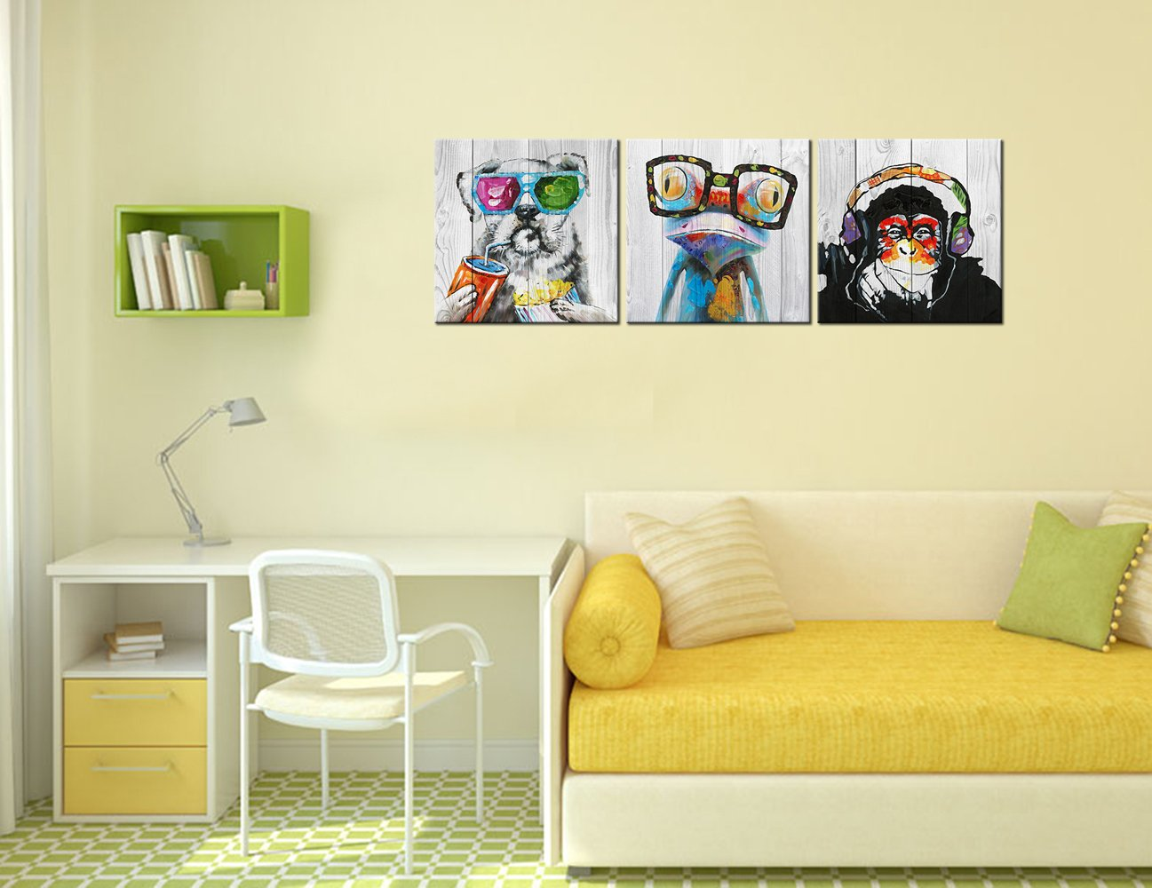 """Abstract Animal Painting Canvas Prints Cool Dog Eat Breakfast & Gorilla Monkey Listen Music & Frog Wear Glasses on Vintage Wood Wall Art 16""""x16""""x3 by Kolo Wall Art (Image #5)"""