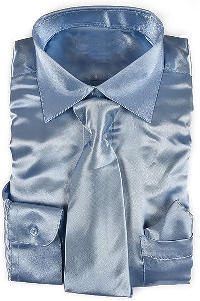 Work Tie Baby Blue Men/'s Slim Skinny Shiny Satin Wedding