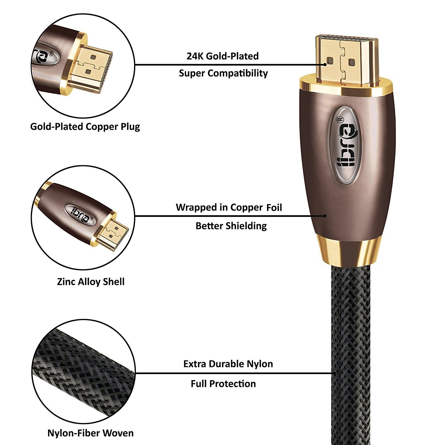 IBRA RED HDMI Cable 10M High Speed PRO GOLD HDMI Cable v2.0//1.4a 3D 2160p PS4 SKY HD 4K@60Hz Ultra HD Ethernet Audio Return Virgin BT
