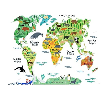 Decor animal world map wall stickers decal home decoration removable decor animal world map wall stickers decal home decoration removable wallpaper mural diy gumiabroncs Choice Image