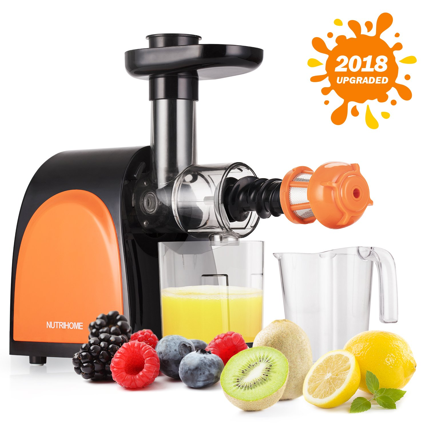 Slow Masticating Juicer,Cold Press Juicer Machine[2018 Upgraded] with Juice Jug and Brush to Clean Conveniently,More high Quality and Quiet Motor Juicer Machine for all Fruits and Vegetables.