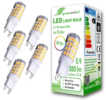 5x Lámpara bombilla LED greenandco® IRC 90+ G9 3,5W (corresponde a