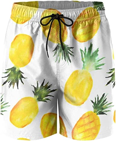 Watercolor Pineapple Mens Lightweight Swimwear Board Short