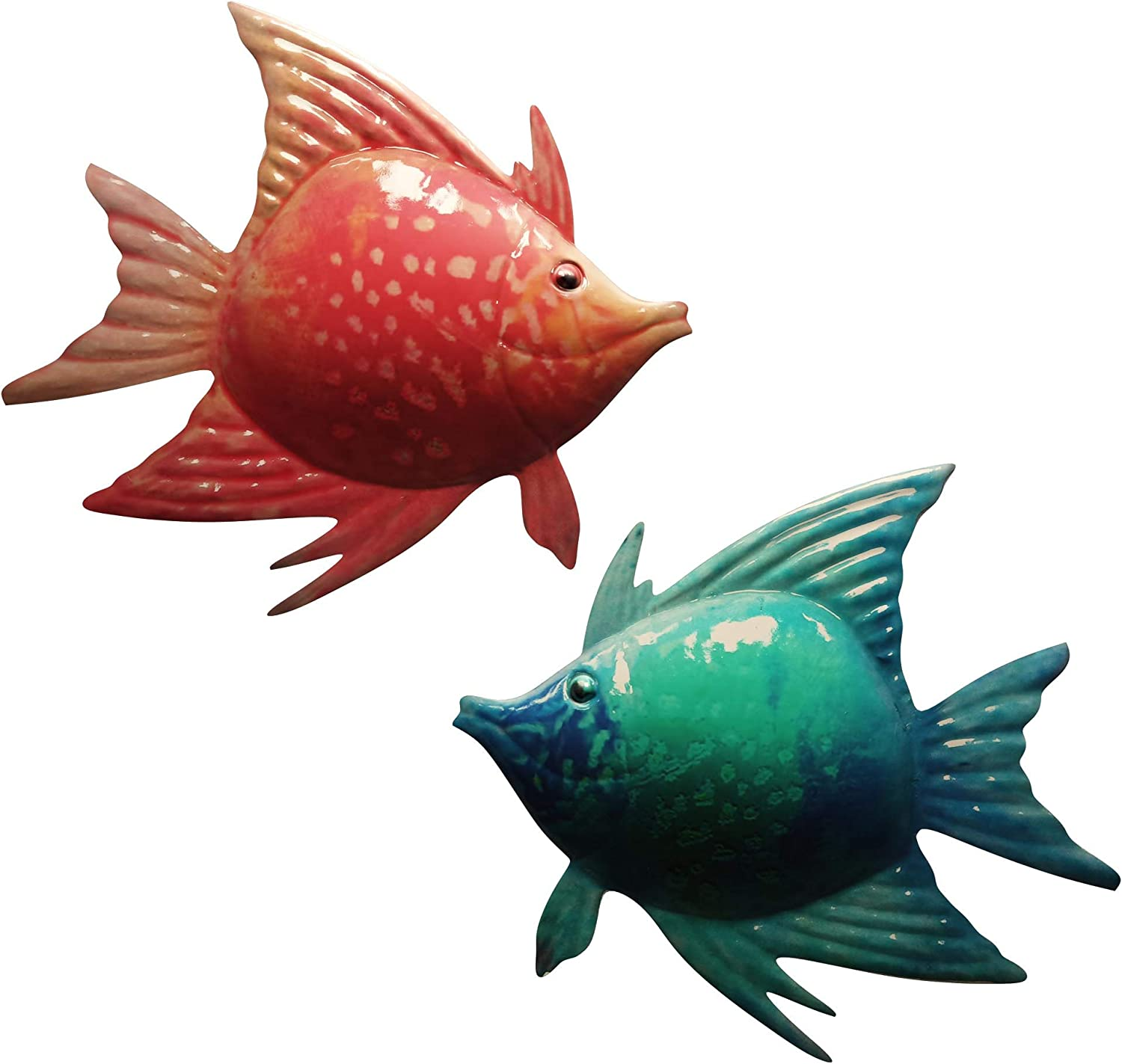 Yisheng Metal Fish Wall Decor, Bathroom Wall Art Iron Sculpture Outdoor Blue Hanging Decoration for Home Bedroom Garden Patio Porch or Fence (2 Pack)