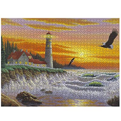 Lighthouse 1000 Pieces Wooden Jigsaw Puzzles Adults Decompression Toys Learning Educational Game for Kids: Toys & Games