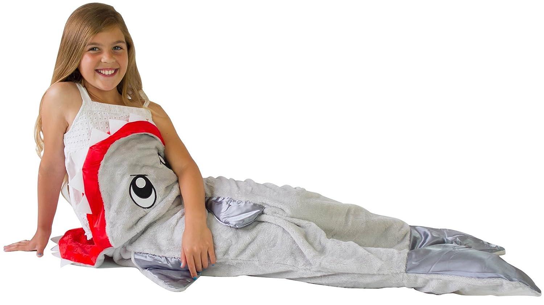 Salvia - Manta de tiburón niños saco de dormir - sueño dentro de un tiburón cola manta - Manta de la Sirenita estilo con tiburón dientes: Amazon.es: Hogar