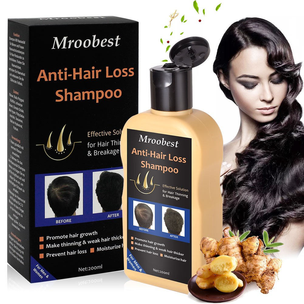 Anti-Hair Loss Shampoo, Anti-Hair Loss Hair Growth Shampoo Treatment Natural Ingredients, Effective Solution for Hair Thinning & Breakage, Helps Stop Hair Loss, Stimulates Hair Re-growth for Men & Women - 200ML Mroobest