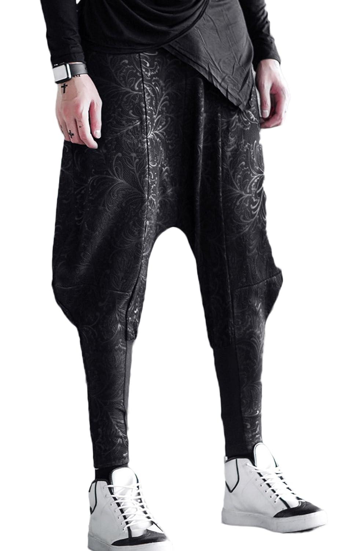 MOKEWEN Men's Emboss Tapered Leg Harem Pants MK1C347