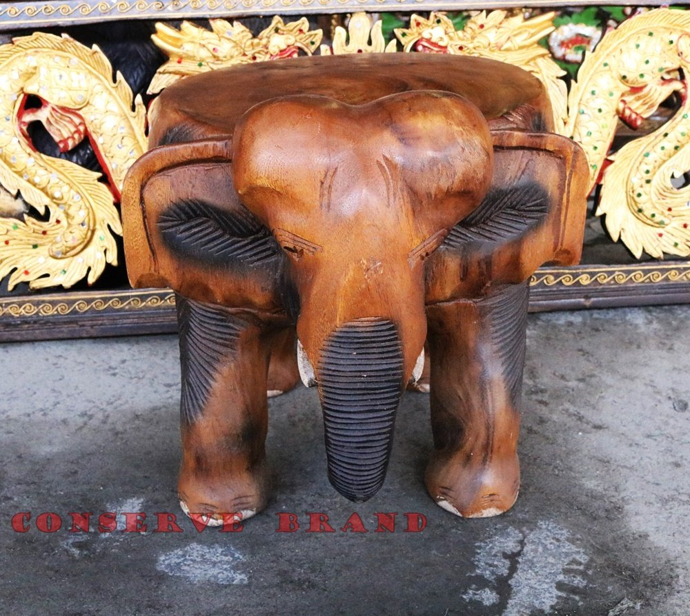 Chang Thai, Elephant Table Diameter 12 inches x Heigh 12 inches Carved Elephant With Livos Walnut Oil Finish. By Conserve Brand by Conserve Brand