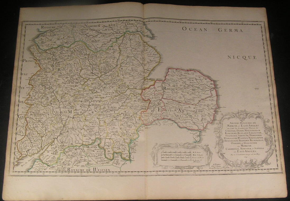 Map Of England Northumbria.Amazon Com England 1654 Mercia East Anglia South Northumbria Sanson