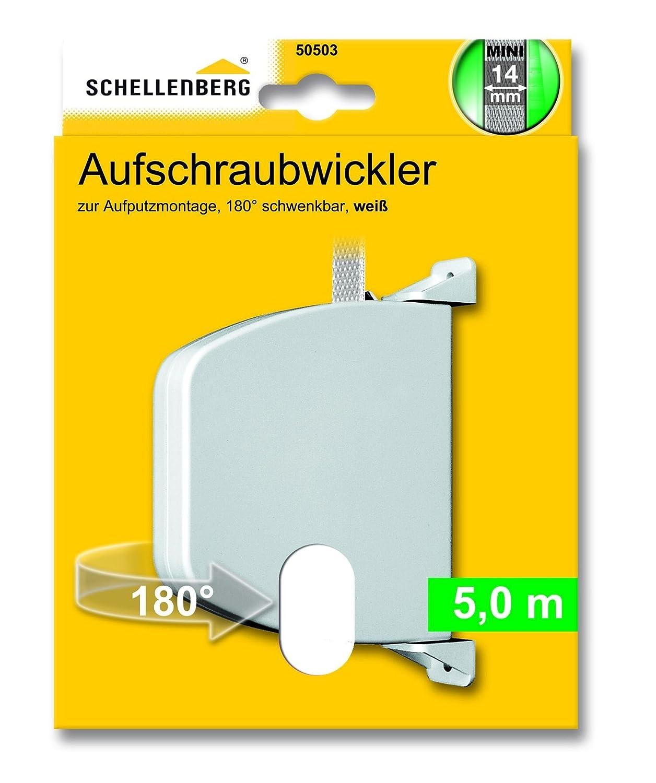 Schellenberg 50157 - Enrollador atornillado de cinta abatible y plegable para montaje en pared, color blanco